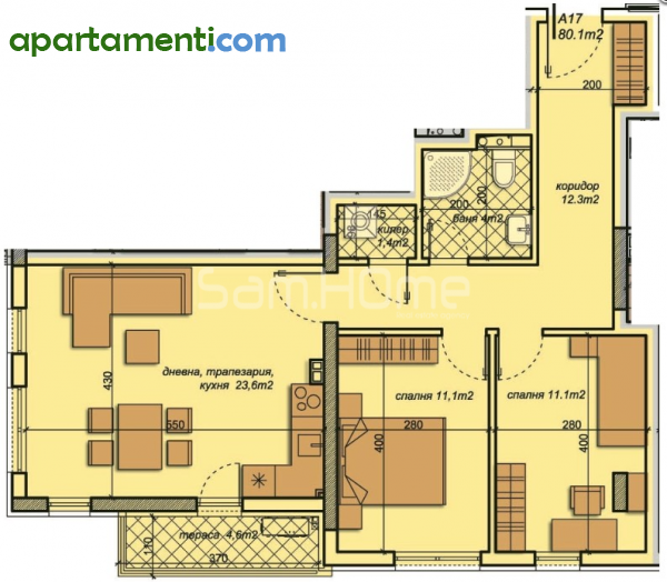Тристаен апартамент Варна Бриз 10